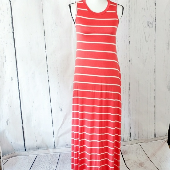 ce366055881 Reborn J Coral Pink Stripe Sleeveless Maxi Dress S